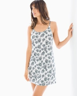 Cool Nights Sleeveless Sleepshirt Hola Palm Ivory/Black