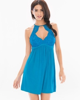 Shimmer Floral Lace Sleep Chemise Blue Sea