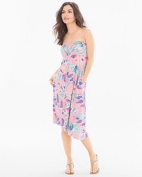 Soft Jersey Asymmetical Strapless Midi Dress