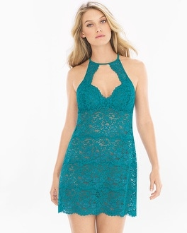 Shimmer Floral Lace Allover Lace Chemise Deep Lake