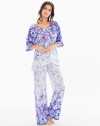 Crepe De Chine Short Sleeve Chiffon Pajama Set