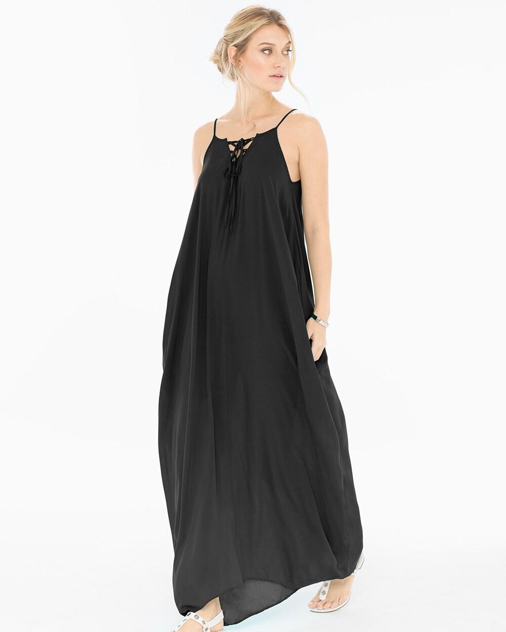 b3ac4620216 Lace Up Neck Cover Up Maxi Dress Black - Soma