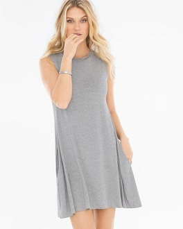 Elan High Neck Striped T-Shirt Dress