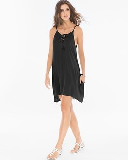 Elan Lace Up Neck Cover Up Dress