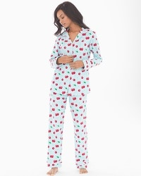 BedHead Cotton Blend Knit Classics Pajama Set Cherry Hearts