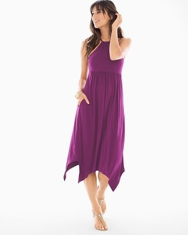 Soft Jersey Scarf Hem Midi Halter Dress