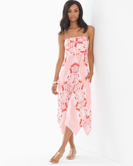 Knotted Back Scarf Hem Bandeau Midi Dress