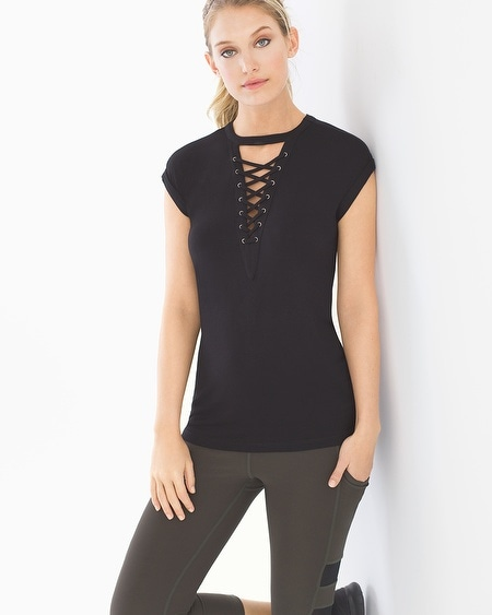 Lace Up Short Sleeve T-Shirt