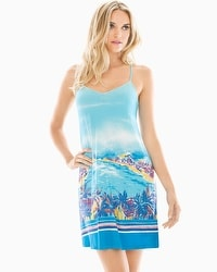 Cool Nights Racerback Sleep Chemise Panorama Beach Blue Sea