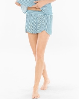 Cool Nights Tulip Pajama Shorts Infinite Stripe Blue Sea