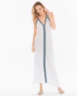 Elan Cotton Blend Maxi V-Neck Dress