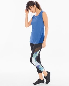 MSP by Miraclesuit Reversible Mesh Sport Crop Leggings Shades of Blue