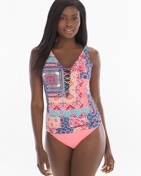 Bleu Rod Beattie Free Spirit Lattice-Front Tankini Swim Top