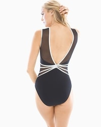 Profile by Gottex Grand Prix Mesh Sweetheart Neck One Piece Swimsuit