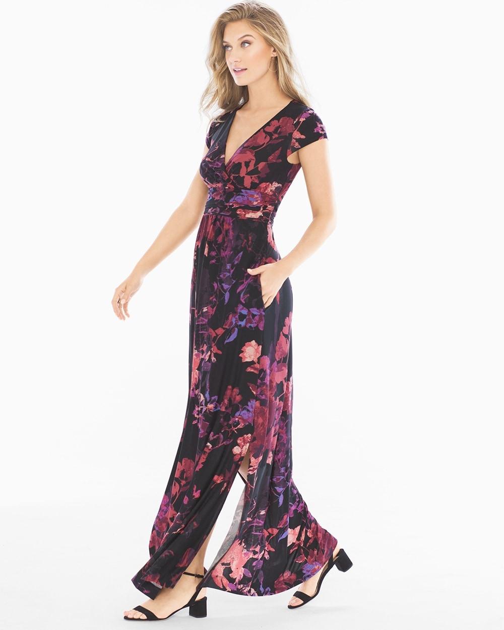 7e1bebf9a6 Cowl Back Maxi Dress Floral Canvas Merlot - Soma
