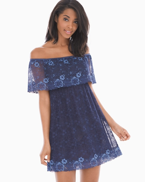 6fd51e2536 Off the Shoulder Lace Sleep Chemise Navy - Soma