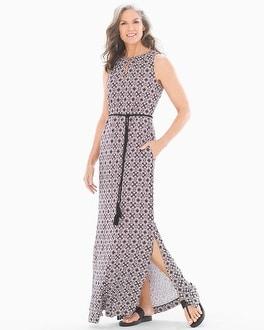 Sleeveless Keyhole Maxi Dress Origin Geo Ginger Root by Soft Jersey