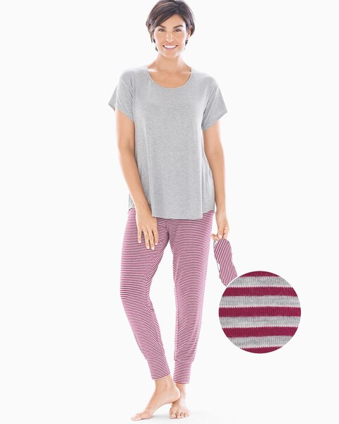 15b00f71ff Short Sleeve Banded Ankle Pajama Set With Eye Mask Ribbon Stripe with Hthr  Opal - Soma