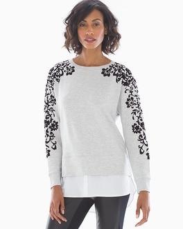 Flocked Layered Look Sweatshirt by