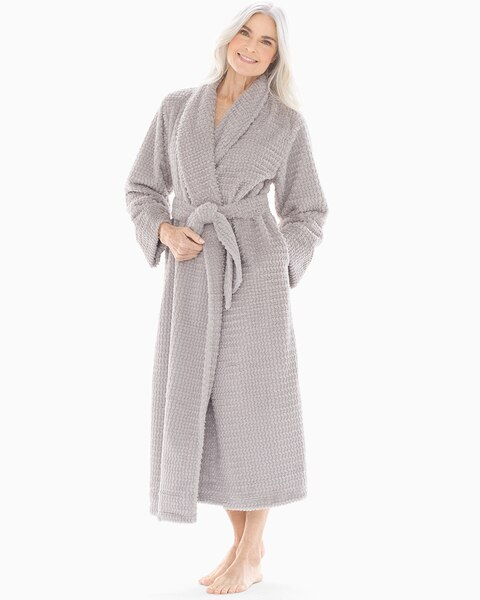 Plush Textured Long Robe Opal Gray