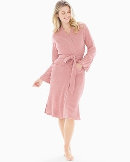 Joie Ribbed Chenille Wrap Robe Dark Rose Bud by N By Natori