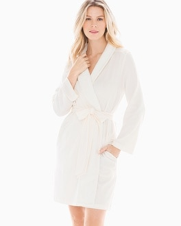 Plush Collar Short Robe Ivory by Embraceable