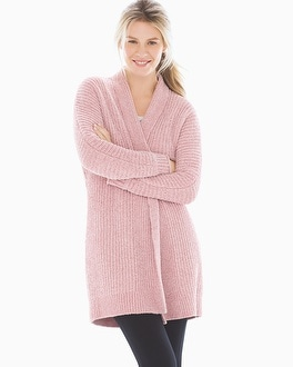 Chenille Wrap Sweater Vintage Pink by