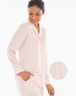 Satin Long Sleeve Notch Collar Pajama Top by
