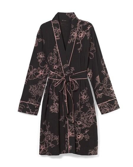 5296d21bc1 Cool Nights Satin Trim Short Robe Antique Floral Plcmt Blk · Quick Shop