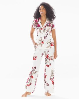 f65851ec26299 Cool Nights Short Sleeve Grosgrain Trim Notch Collar Pajama Top Floral  Affair Ivory