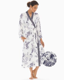 Cool Nights Lace Trim Long Robe Luminous Floral Ivory cc60a41d4