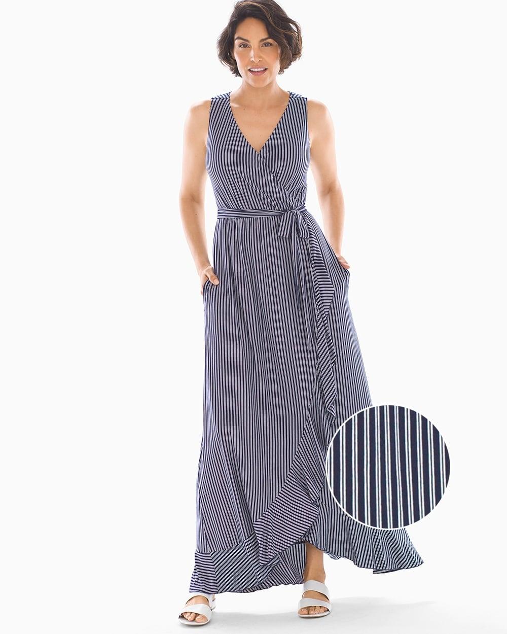 3739c09bcd Ruffle Border Maxi Dress Navy Stripe - Soma