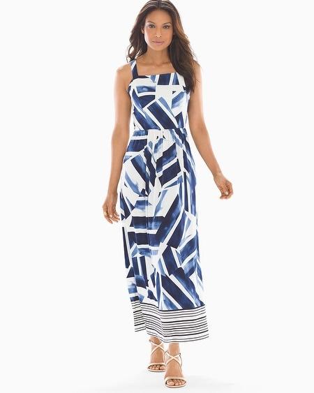 3e84e3003ac Geo Print Maxi Dress Blue White