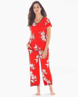2d5aa7be453b5 Cool Nights Pom Trim Tulip Crop Pajama Pants Lush Tropic Poppy Red