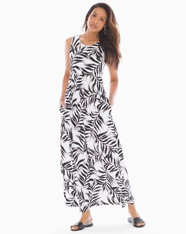 4023838a47 Sleeveless High Neck Maxi Dress Fiji Palm Grand White