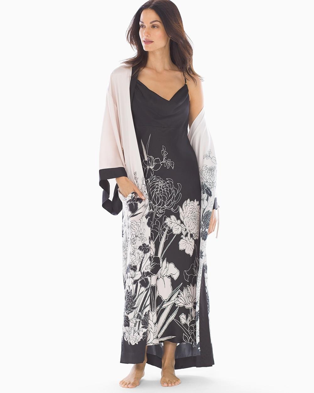 Kimono Robe Heirloom Border Soft Sand