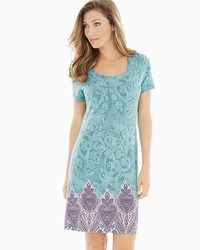 Embraceable Cool Nights Short Sleeve Sleepshirt Lustrous Paisley Jade Border
