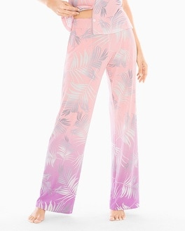 Cool Nights Pajama Pants Hola Palm Ombre Border Pink