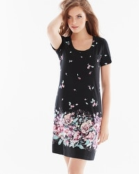 Embraceable Cool Nights Short Sleeve Sleepshirt Botanical Bouquet Black Border