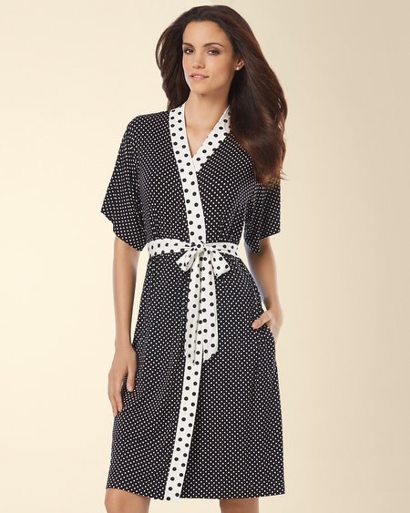 Short Robe Mod Dot Black