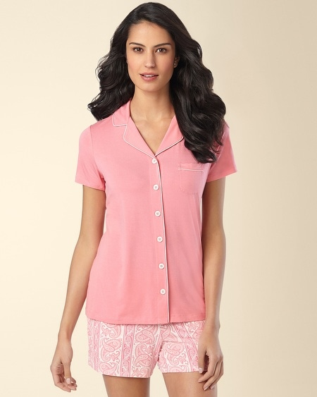 Short Sleeve Notch Collar Pajama Top Peony