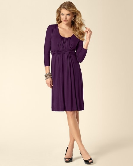 3/4 Sleeve Wrapped Waist Dress Blackberry