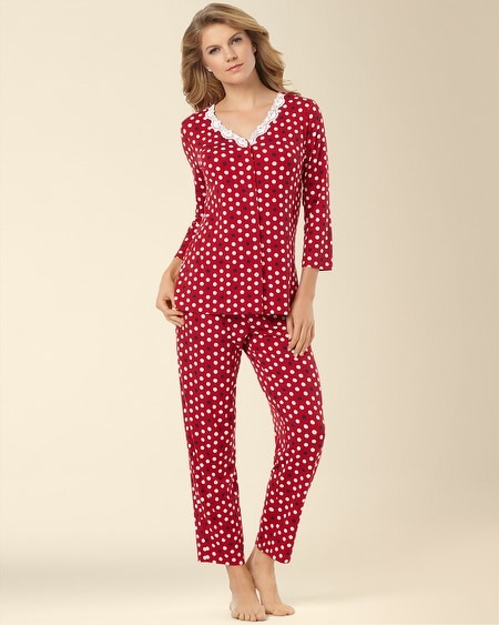 Cardigan Pajama Set Dot Red