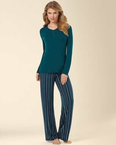 Pajama Set Stripe Deep Teal