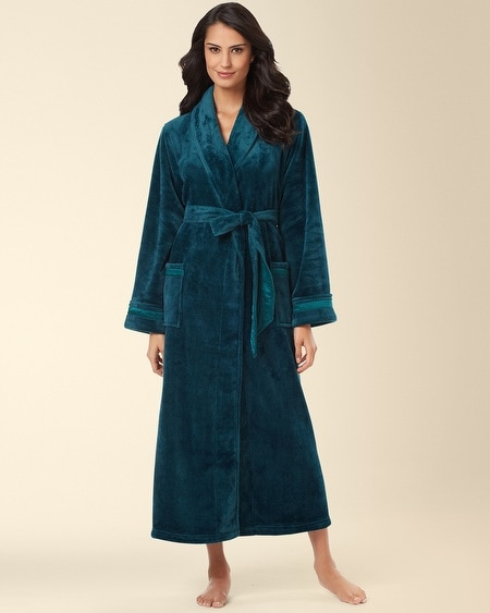 Plush Long Robe Deep Teal