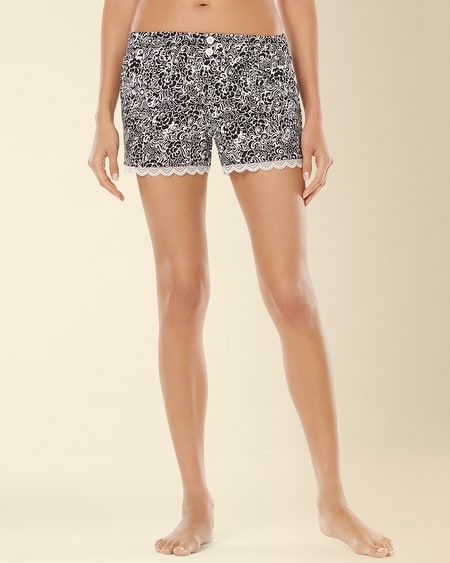 Lace Sleep Short Inked Floral Black