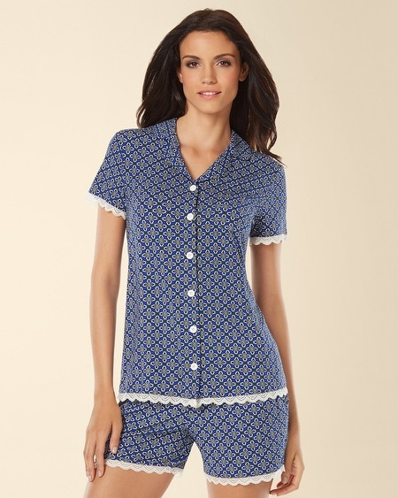 Notch Collar Lace Pajama Top Medallion Mode Atlantis