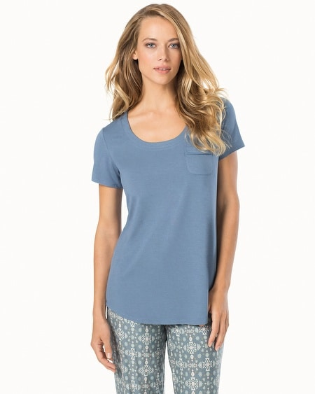 Short Sleeve Pajama Tee with Pocket Slate Blue