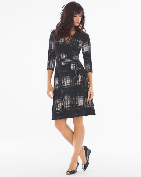 3/4 Sleeve Wrap Dress Rendered Windowpane Ivory