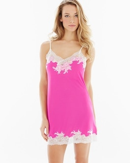 Natori Slinky Lace Sleep Chemise Passion Pink With Ivory Lace